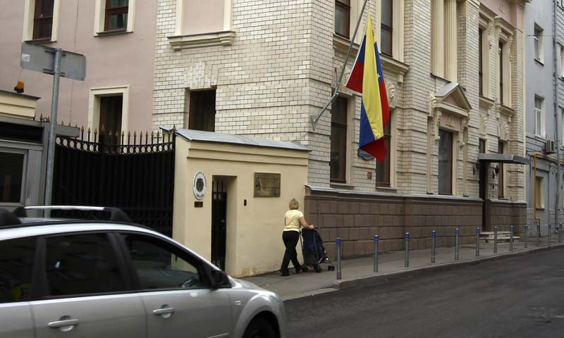 A car drives past the embassy of Venezuela in Moscow, July 9, 2013.     — Photo by Reuters