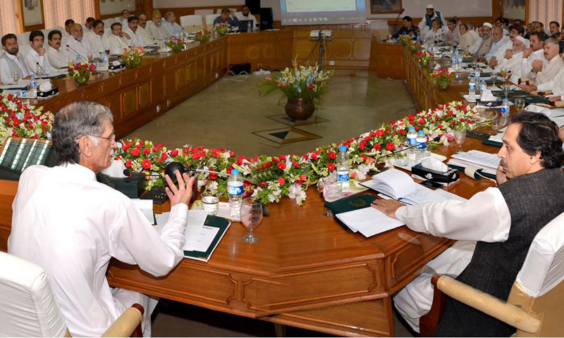 This picture shows a cabinet meeting of the Pakistan Tehrik-i-Insaaf.—File Photo