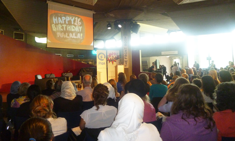 Screen event of Malala Yousafzai's speech at London's South Bank. -Photo by author