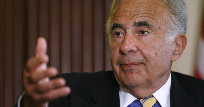 Investor Carl Icahn speaks at the Wall Street Journal Deals & Deal Makers conference at the New York Stock Exchange in this June 27, 2007 file photograph. —Reuters Photo