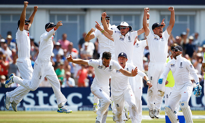 England celebrate beating Australia. -Photo by Reuters