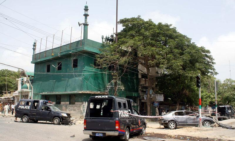 A view of the site of attack on the convoy of Sindh High Court Justice Baqar Maqbool at Burns road in Karachi.—File Photo