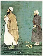 Shiekh Ahmad Sirhindi (left), the 16th century Islamic scholar who opposed Mughal King Akbar's liberal outlook of Islam and the political and theological accommodation of other religions in Mughal India. Sirhindi's role in this respect was greatly embellished and glorified in the writings of Islamic Fundamentalists of the 20th century.