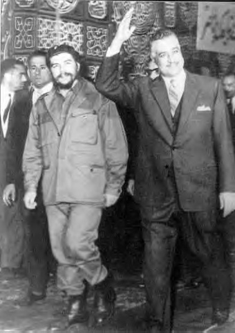 Leading architect of 'Arab Socialism,' Egyptian leader, Gamal Abul Nasser (right), with famous Latin American revolutionary Marxist, Che Guevara in Cairo.