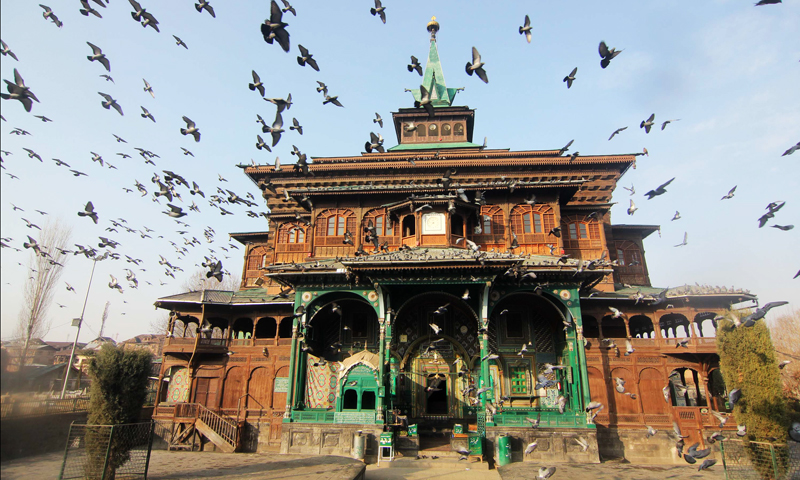The shrine of Mir Syed Ali Hamadani, who played a significant role in spreading Islam and Spirituality in Kashmir more than six centuries ago, has visited Kashmir thrice. His shrine is in Khanqah area of Srinagar. Mir Hamadan is buried in Khatlan.Photo: Bee, Bilal.