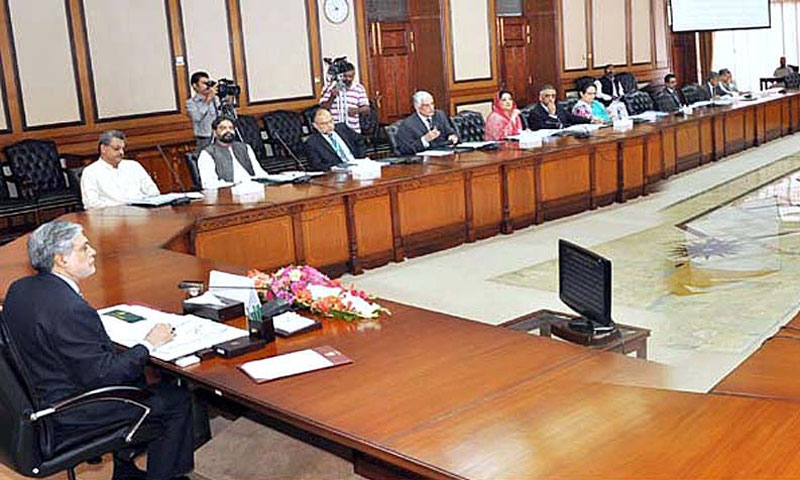 Federal Minister for Finance, Senator Muhammad Ishaq Dar chairing ECC meeting.—Photo by APP