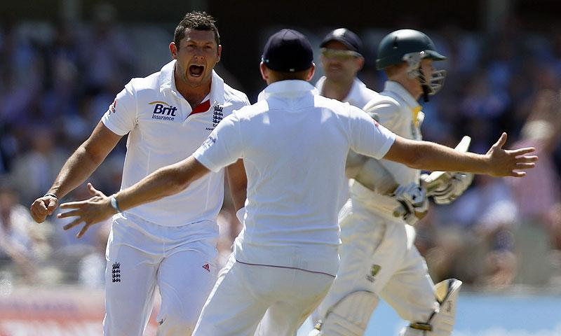 England's bowler Tim Bresnan, left, celebrates lbw of Australia's Shane Watson. -Photo by AP