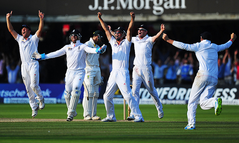 England celebrate after winning the second Test. -Photo by AFP