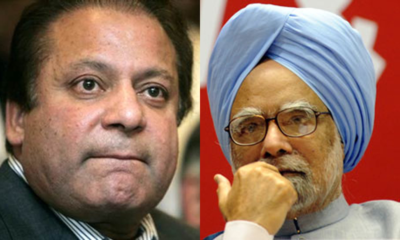 Pakistani Prime Minister Nawaz Sharif and Indian Prime Minister Manmohan Singh. — File Photo.