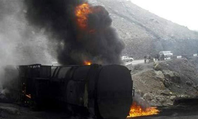 Militants set the container on fire by using petrol. -File Photo