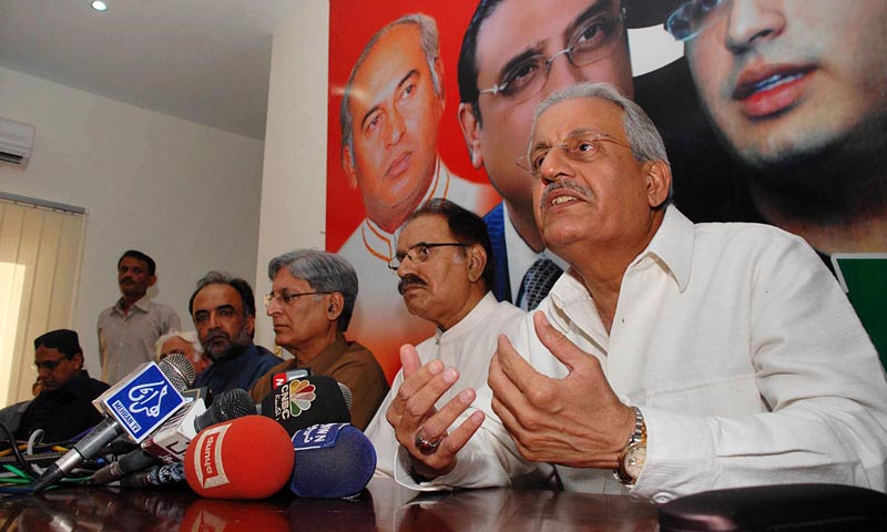 PPP Presidential Candidate Raza Rabbani talking to the media persons during a press conference at PPP Central Secretariat.— Photo by Online