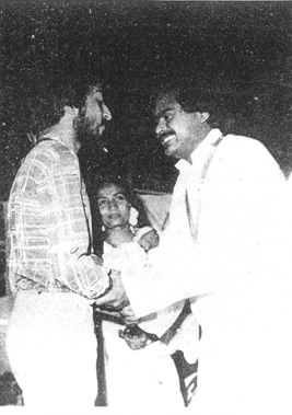 An early 1980s picture showing MQM chief, Altaf Hussain, meeting Farooq Sattar at the Karachi University. Though the MQM was just a small party in 1985, Sattar briefly visited the college during the 1985 election and threw his support behind our party.