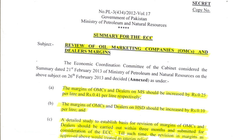 A copy of the ECC summary recieved by DawnNews.