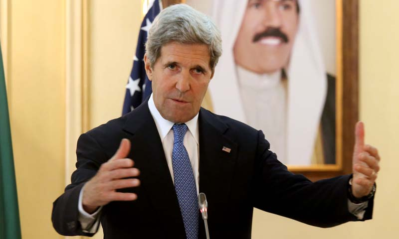 U.S. Secretary of State John Kerry speaks at a news conference at the Ministry of Foreign Affairs in Kuwait City on June 26, 2013. Kerry is on an official tour of the Middle east, his fifth trip to the region in as many months.  — Photo AP
