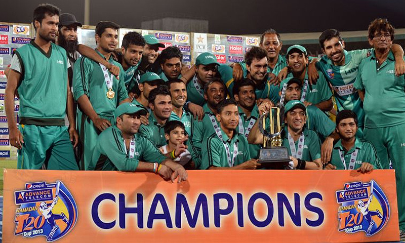 Jubilant HBL players pose with the trophy after winning the final at the National Stadium. -Photo courtesy PCB