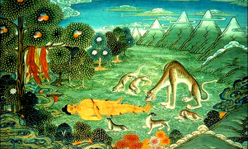 A colourful illustration depicting a jataka about a tigress