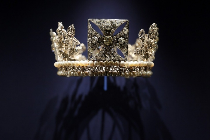 The diamond diadem, made of diamonds, pearls, silver and gold, worn by Britain's Queen Elizabeth II on her way from Buckingham Palace to Westminster Abbey for her 1953 Coronation and during the first part of the ceremony, is displayed at the exhibition. — AP Photo