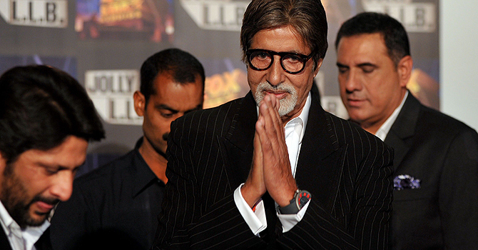 Indian Bollywood actor Amitabh Bachchan gestures at a function for the forthcoming Hindi film 'Jolly L.L.B.' directed by Subhash Kapoor in Mumbai late January 8, 2013. — AFP Photo