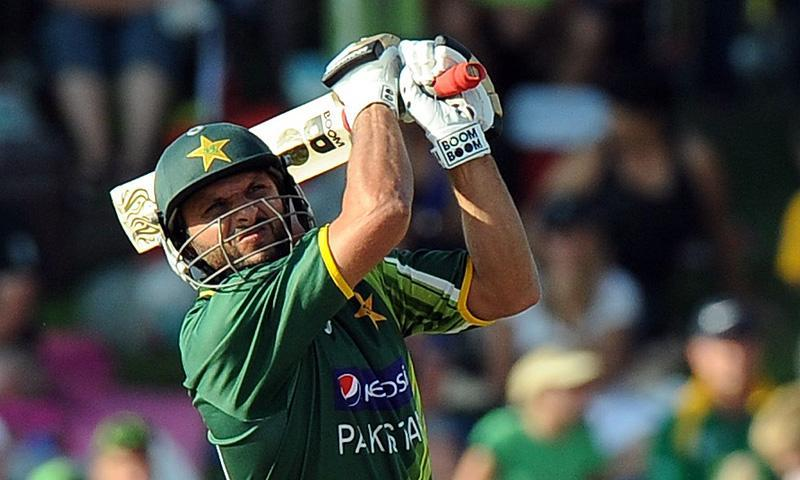 Shahid Afridi made 46 for Pakistan becoming the first cricketer to hit 400 sixes in an international career in the process. -File photo