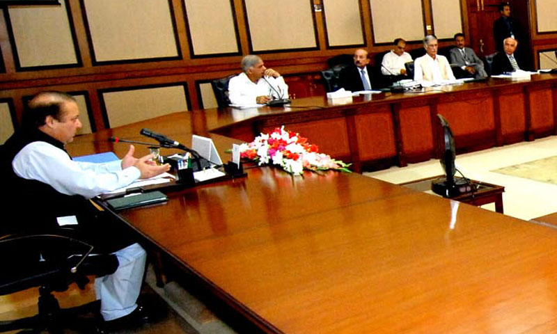 Prime Minister Nawaz Sharif chairs a meeting of the Council of Common Interests on July 31, 2013.—Photo by INP