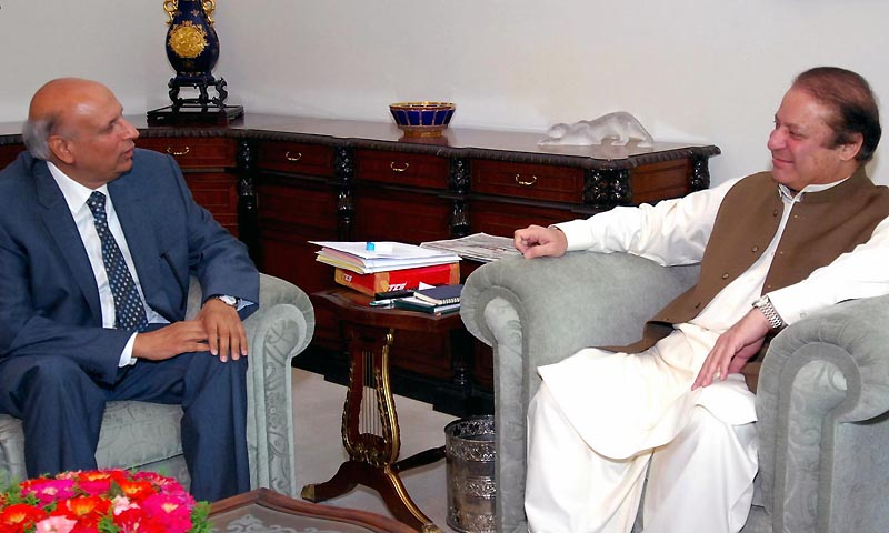 Prime Minister Muhammad Nawaz Sharif in a meeting with  Mohammad Sawar who called on him at PM's House on Tuesday. — Photo by  INP PHOTO