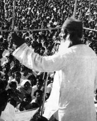 NAP's Maoist firebrand, Maulana Bhashani, addressing a gathering of peasants and workers.