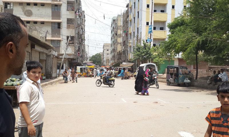 Photo shows a football playing field in Karachi's Lyari area where a bomb blast early on August 7 killed seven people and wounded 26 others. – Photo courtesy Saher Baloch