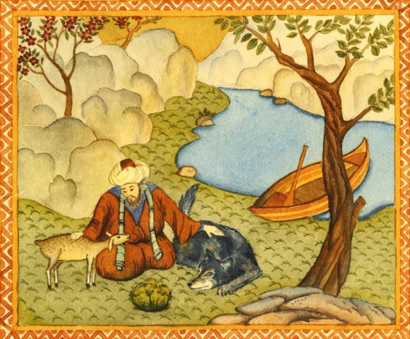 A 16th century painting of a Sufi befriending a goat and a wolf.