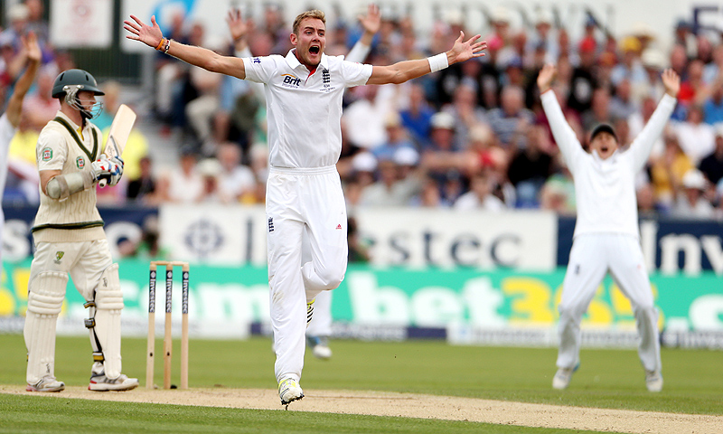 Broad produced a devastating spell of fast bowling to rip through Australia's top order. -Photo by AP
