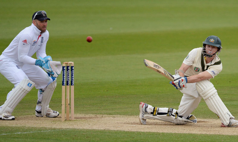Australia's Chris Rogers hits a boundary for his century of the bowling of England's Graeme Swann during their fourth Ashes test cricket match at the Riverside cricket ground, Chester-Le-Street, northern England August 10, 2013. – Reuters Photo