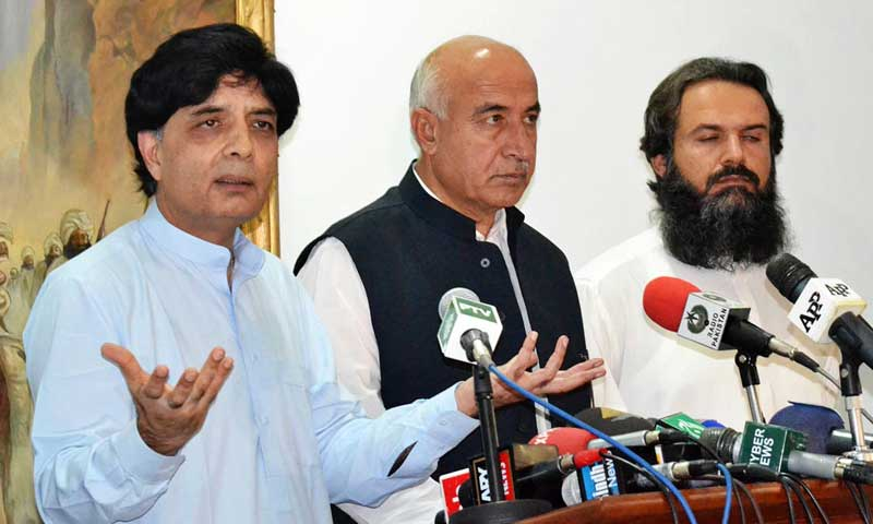 Interior Minister Chaudhry Nisar Ali Khan addressing a press conference along with Chief Minister Balochistan Abdul Malik at CM House. — Photo by Online