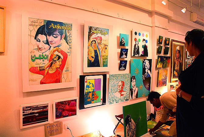 The work of artist Shanzay Sabzwari is displayed at the Jumma Hafta Art Bazaar at T2F. — Photo by Shameen Khan