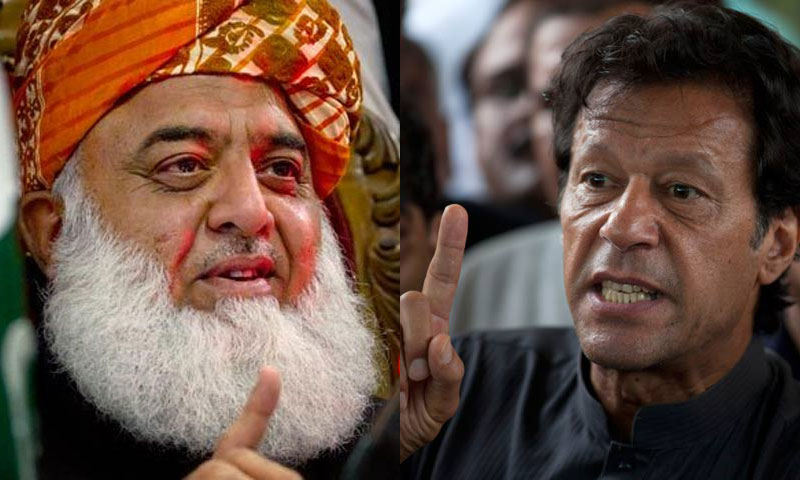 No need of Jewish agent in Fazlur Rehman's presence: PTI chief. 'Goldsmith' agenda will be buried on Aug 22: JUI-F chief. – File Photos merged