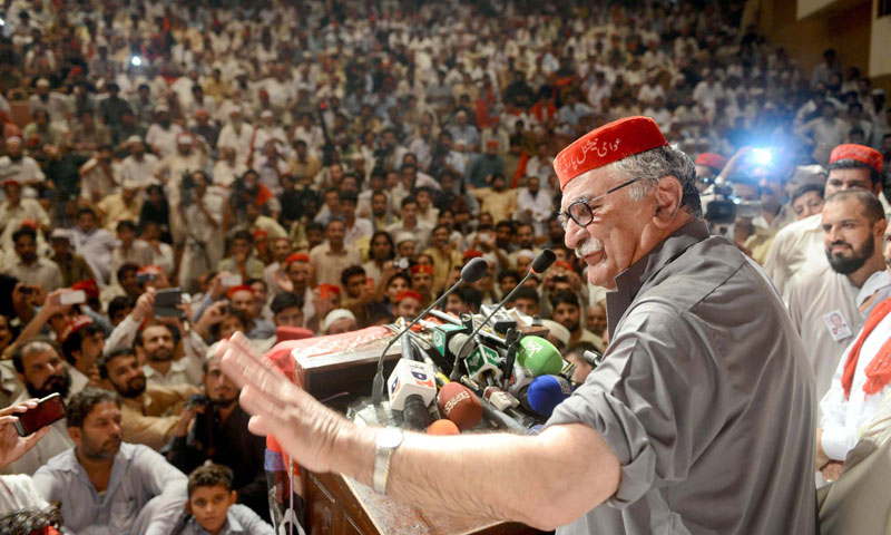 Awami National Party Chairman Asfandyar Wali Khan addresses to a public gathering in Peshawar on Monday, August 19, 2013. – PPI Photo