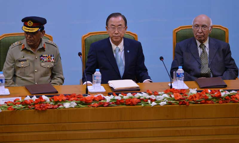 During his visit to Islamabad on August 13, 2013, UN Secretary-General Ban Ki-moon  expressed concern over loss of life caused by armed drones and urged that they be used in accordance with international laws.—Photo by AFP