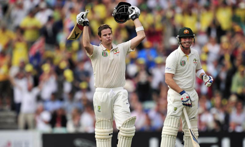 Australia's Steven Smith celebrates reaching his century during play on the second day of the fifth Ashes cricket test match between England and Australia at The Oval cricket ground in London. -AFP Photo