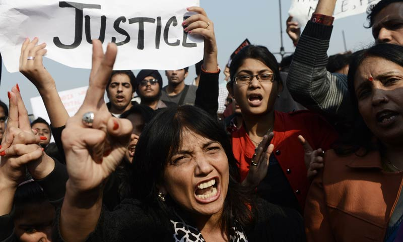 In this photograph taken on December 22, 2012 Indian demonstrators shout slogans during a protest calling for  better safety for women following the rape of a student last week, in front of the Government Secretariat and Presidential Palace in New Delhi. Award-winning playwright Yael Farber, whose new work focuses on the fatal gang-rape of an Indian student, was inspired by the protests that erupted across the country after the attack. -AFP File Photo