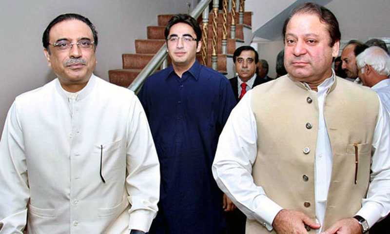 President Asif Ali Zardari with his son Bilawal Bhutto and Prime Minister Nawaz Sharif. — File Photo