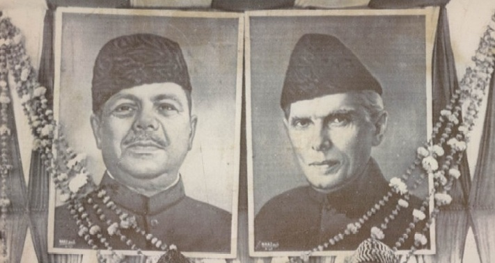 The backdrop of a stage shows portraits of Ayub and Jinnah. Ayub claimed that he was evolving Pakistan's nationhood according to the modern and progressive dictates of Jinnah.
