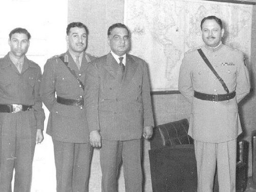 President Iskandar Mirza (third from left) with heads of Pakistan armed forces (1958). Mirza suspended the 1956 Constitution calling it 'a prostitution of Islam for political gains.'