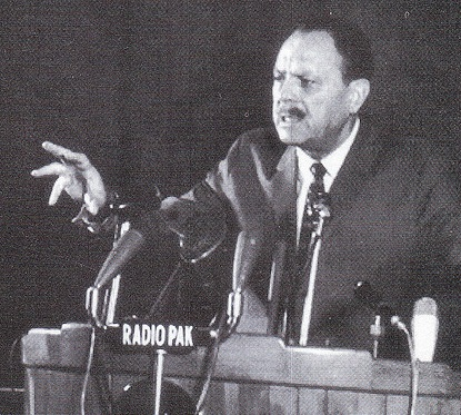Ayub Khan addressing the nation.
