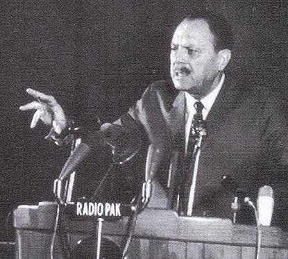 Ayub Khan addressing the nation.