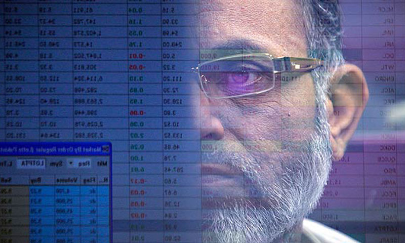 A stockbroker at the Karachi Stock Exchange.—Reuters/File Photo.