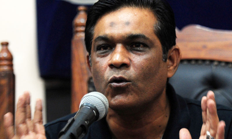 Former Pakistan cricket captain Rashid Latif gestures during a press conference in Karachi on August 24, 2013. – AFP Photo