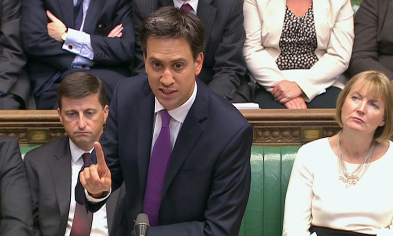 Britain's opposition Labour leader Ed Miliband is seen addressing the House of Commons in this still image taken from video in London August 29, 2013. — Photo by Reuters
