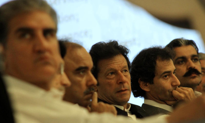 "PTI Chairman and MNA Imran Khan and members of the KPK Assembly sitting on stage during the workshop on the ""Right to Information Law"" organised by the Government of Khyber Pakhtunkhwa at a local hotel. —INP Photo"