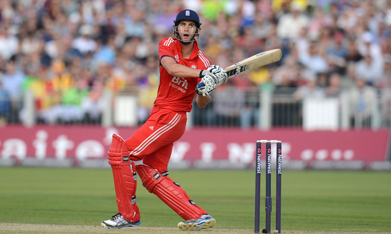 England's Alex Hales hits out during the second T20 international against Australia at the Riverside cricket ground in Chester-le-Street, near Durham, August 31, 2013. – Reuters Photo