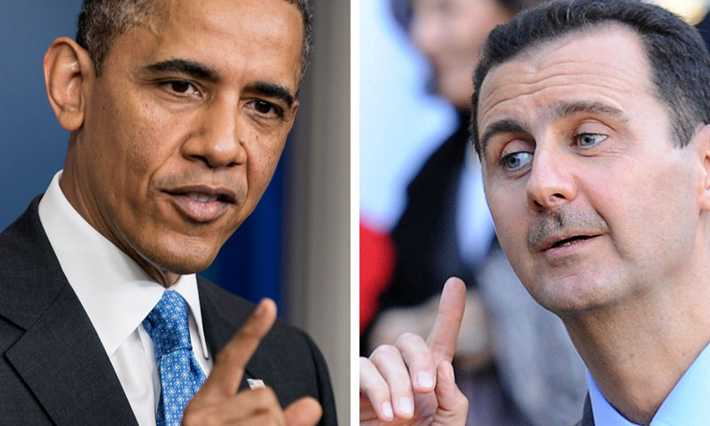 A combination of two file pictures made on August 31, 2013 shows US President Barack Obama (L) and Syrian President Bashar al-Assad. – AFP Photo