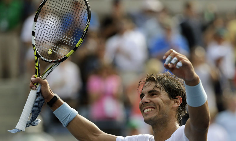 Rafael Nadal, of Spain, reacts after defeating Ivan Dodig, of Croatia, during the third round of the 2013 U.S. Open tennis tournament, Saturday, Aug. 31, 2013, in New York. — Photo by AP