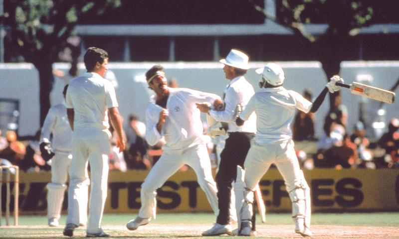 When the skipper lost it: Javed Miandad and Dennis Lillee.